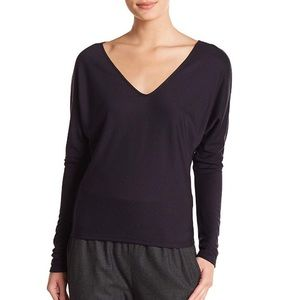 Theory Cowl V Neck Jersey Top
